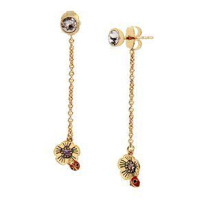 COACH Garden Party Crystal Tea Rose Linear Earrings